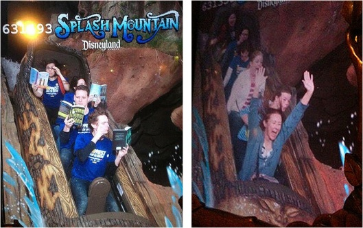Reading and screaming on Splash Mountain