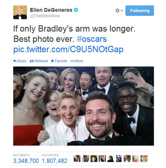 2014 Oscars Selfie that broke Twitter