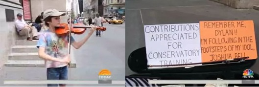 11 year-old Dylan Hamme playing his violin on 5th Ave NYC