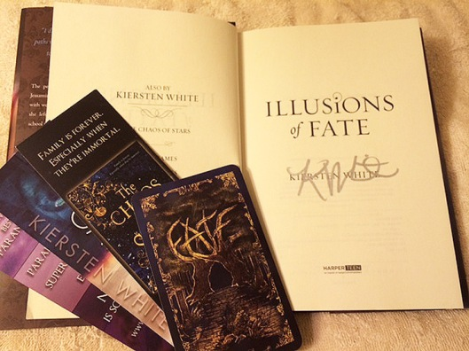 Author signed title page of Illusions of Fate, by Kiersten White
