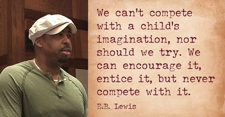 E.B. Lewis, profile picture and quote
