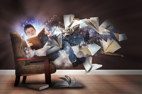 Boy's imagination while reading