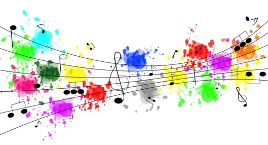 Musical notes and splashes of color