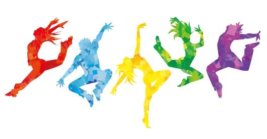 Dancing figures silhouette