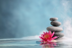 Spa rocks and lotus flower